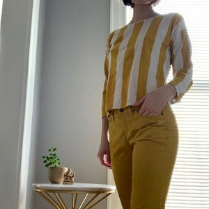 Yellow and white striped sweater